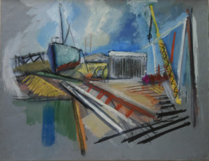 """Dry Dock"" Cat. #103 20"" x 26"" Casein, pastel 1947 (signed on back)"