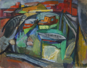 """Three Boat Harbor"", Cat. #322 20"" x 25 1/2"" Casein & pastel 1947 (signed)"