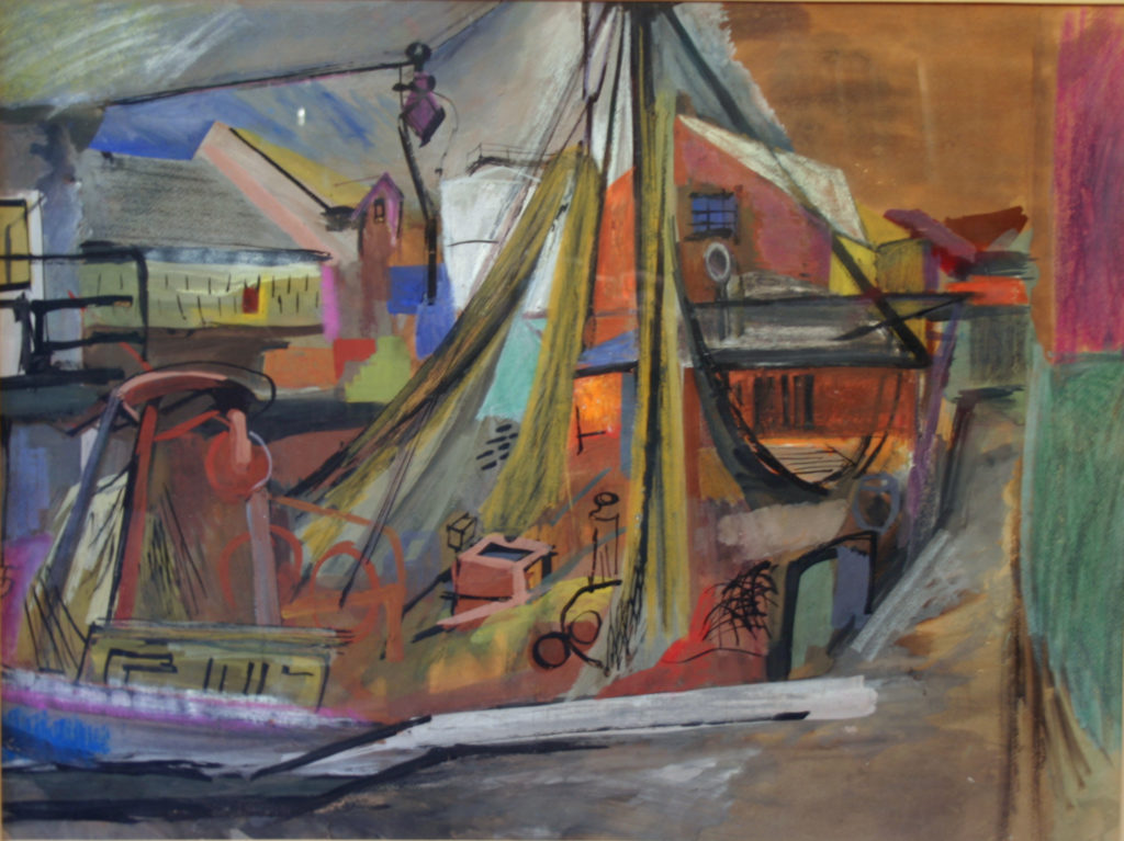 """Boat and Nets"" Cat. #031 17"" x 23"" casein, pastel and ink 1947 (original frame)"